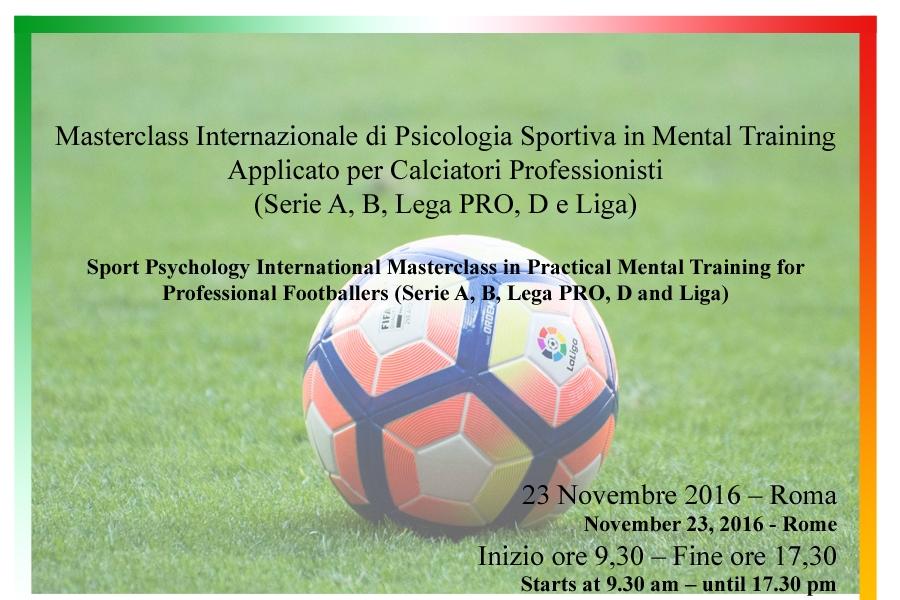 Masterclass Internazionale di Psicologia Sportiva in Mental Training Applicato per Calciatori Professionisti (Serie A, B, Lega Pro, D e Liga)